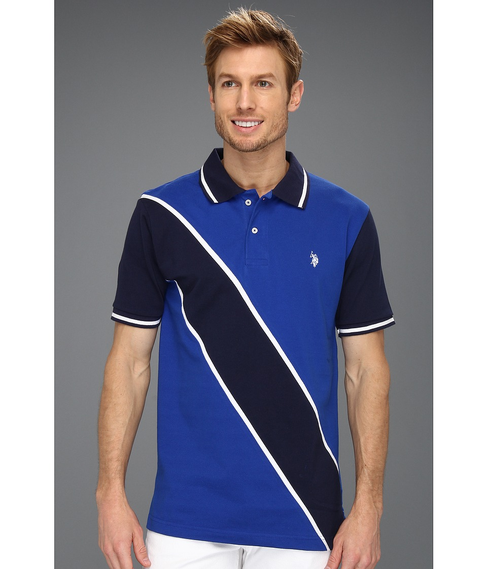 U.S. POLO ASSN. - Solid Polo with Contrast Color Piecing (Cobalt Blue) Men's Short Sleeve Knit