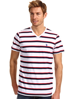 SALE! $17.99 - Save $16 on U.S. Polo Assn Striped V Neck T Shirt with Small Pony (White) Apparel - 47.09% OFF $34.00