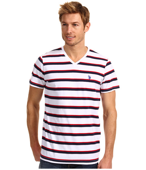 U.S. POLO ASSN. - Striped V-Neck T-Shirt with Small Pony (White) Men