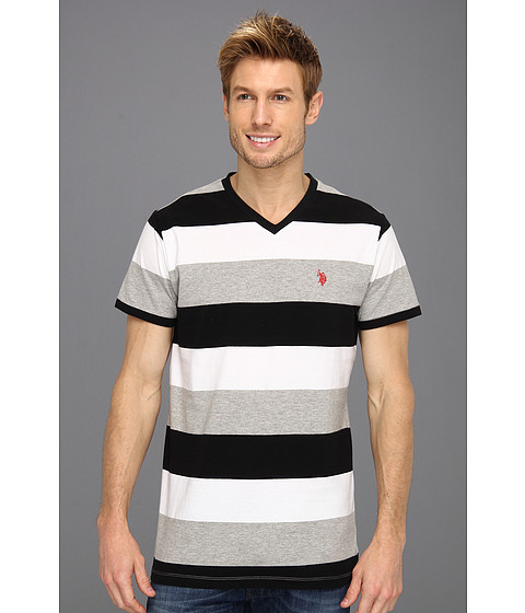 U.S. POLO ASSN. - Wide Striped V-Neck T-Shirt with Small Pony (Heather Grey) Men's T Shirt