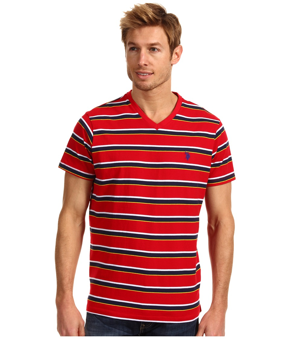 U.S. POLO ASSN. - Striped V-Neck T-Shirt with Small Pony (Engine Red) Men's T Shirt