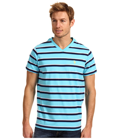 U.S. POLO ASSN. - Striped V-Neck T-Shirt with Small Pony (Horizon Blue) Men