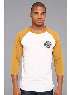 SALE! $16.99 - Save $15 on Brixton Sultan T Shirt 3 4 (White Mustard) Apparel - 46.91% OFF $32.00