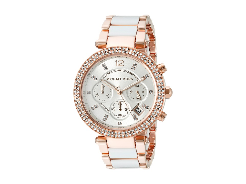 Michael Kors - MK5774 - Parker Chronograph (Rose Gold/White) Analog Watches