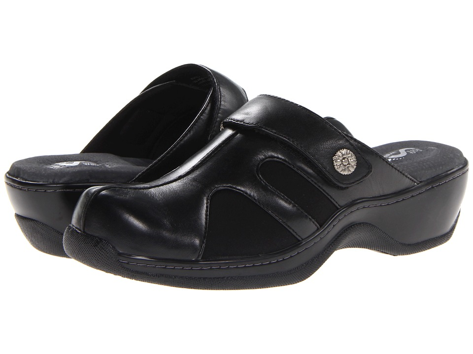 SoftWalk - Acton (Black Veg Calf Leather/Stretch) Women's Clog Shoes