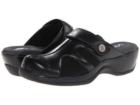 SoftWalk - Acton (Black Veg Calf Leather/Stretch) Women's Clog Shoes
