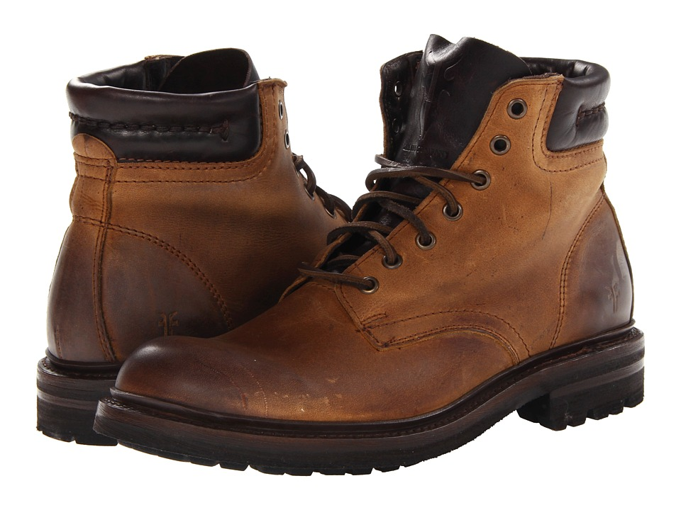 Frye - Freemont Lace Up (Tan Textured Full Grain) Men
