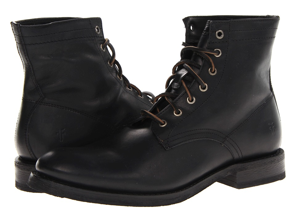 Frye - Jonathan Mid Lace (Black Soft Vintage Leather) Men's Lace-up Boots