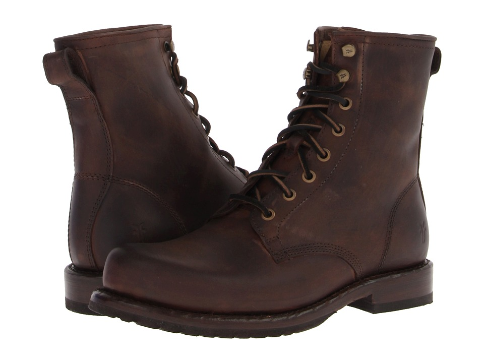 Frye - Wayde Combat (Brown Washed Antique Pull Up) Men's Lace-up Boots
