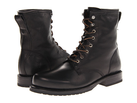 Frye - Wayde Combat (Black Soft Vintage Leather) Men's Lace-up Boots