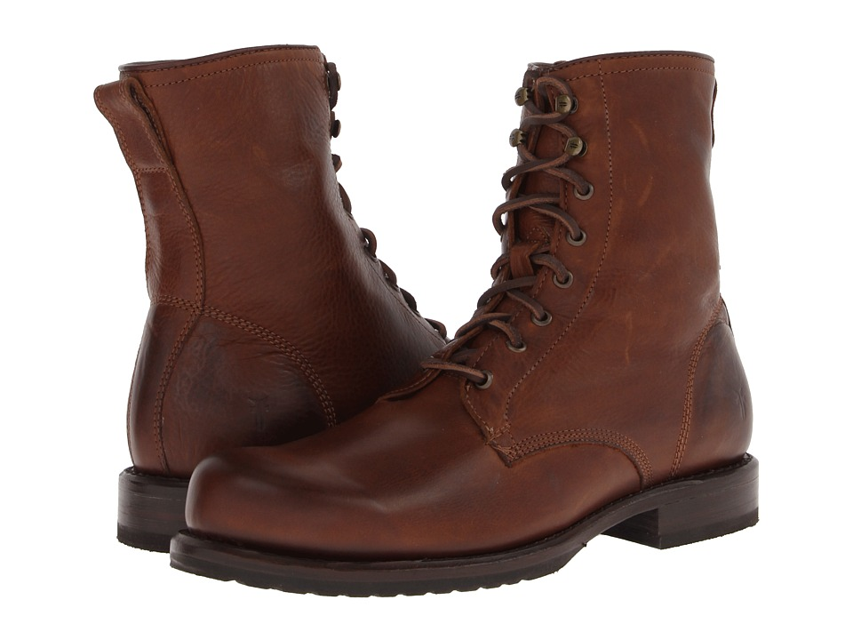 Frye - Wayde Combat (Cognac Soft Vintage Leather) Men's Lace-up Boots