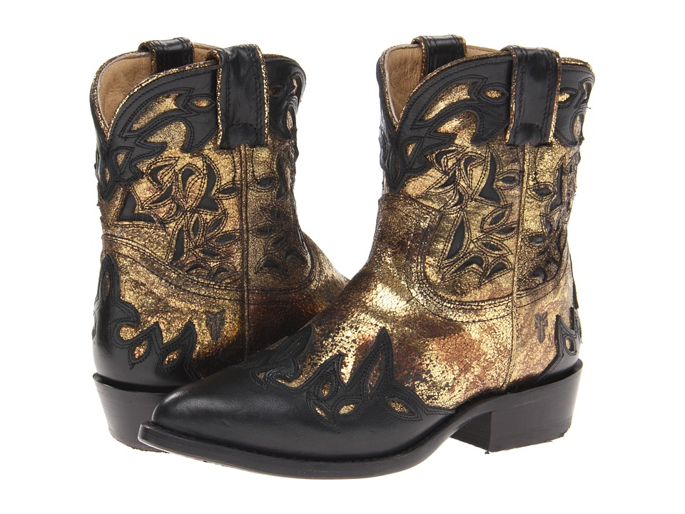 Frye Billy Overlay Short (Black/Gold/Soft Vintage Leather/Metallic) Cowboy Boots