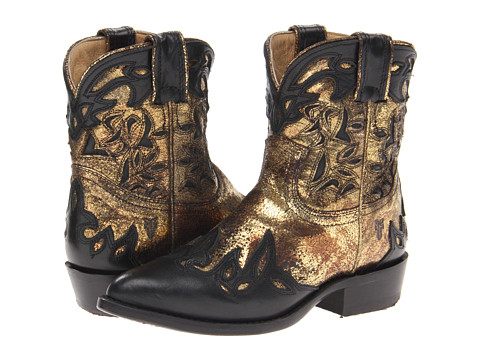 Frye - Billy Overlay Short (Black/Gold/Soft Vintage Leather/Metallic) Cowboy Boots