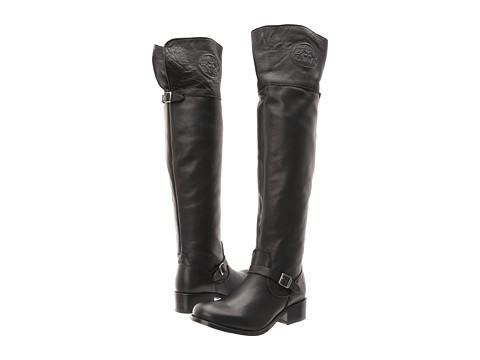 Frye - Lynn Logo OTK (Black Antique Soft) Cowboy Boots