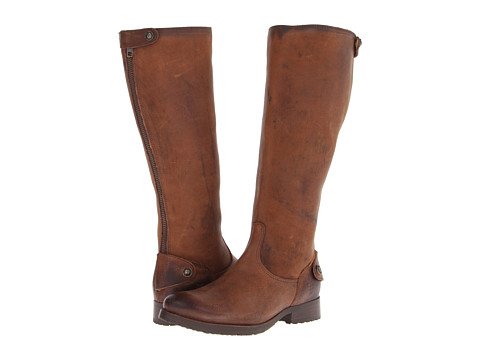 Frye - Melissa Lug Back Zip Tall (Cognac Pressed Nubuck) Cowboy Boots