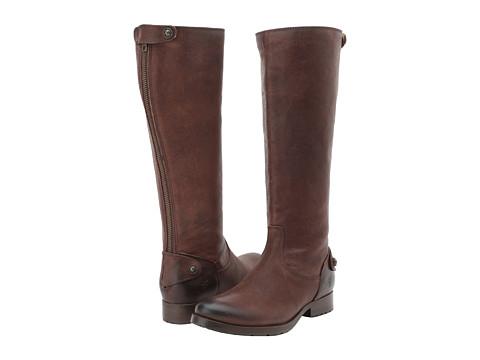 Frye - Melissa Lug Back Zip Tall (Dark Brown Pressed Nubuck) Cowboy Boots