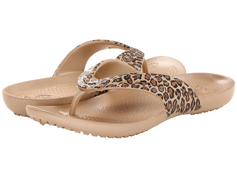 Crocs - Kadee Leopard Print Flip Flop (Gold/Black) Women's Sandals