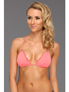 SALE! $16.99 - Save $39 on CA by Vitamin A Swimwear Rio Ruffle Halter Top (Coral) Apparel - 69.66% OFF $56.00