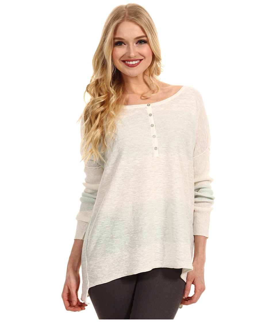 Free People - Gold Rush Henley (Mint/White Combo) Women's Sweater