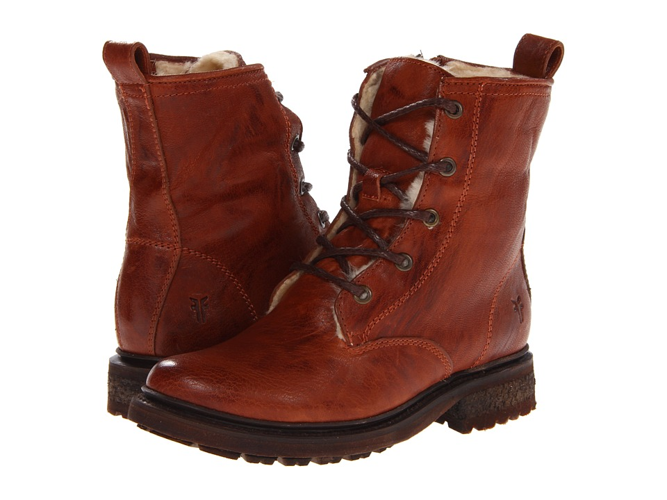 Frye - Valerie Lace Up (Cognac Antique Soft Vintage/Shearling) Cowboy Boots
