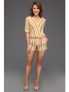 SALE! $134.99 - Save $163 on BCBGMAXAZRIA Kelly Wrap Top Romper (Parfait Combo) Apparel - 54.70% OFF $298.00