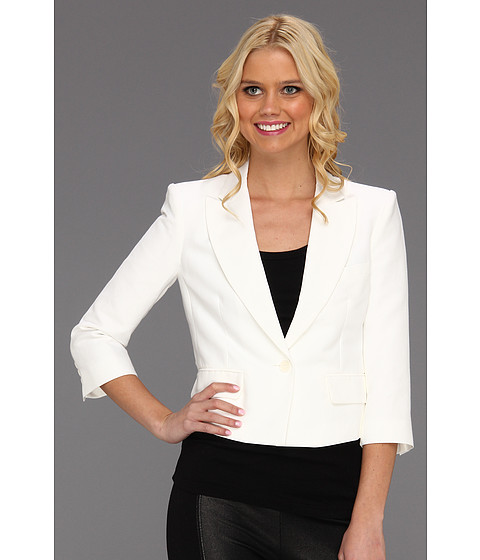 BCBGMAXAZRIA - Natalia Cropped Jacket (White) Women's Jacket