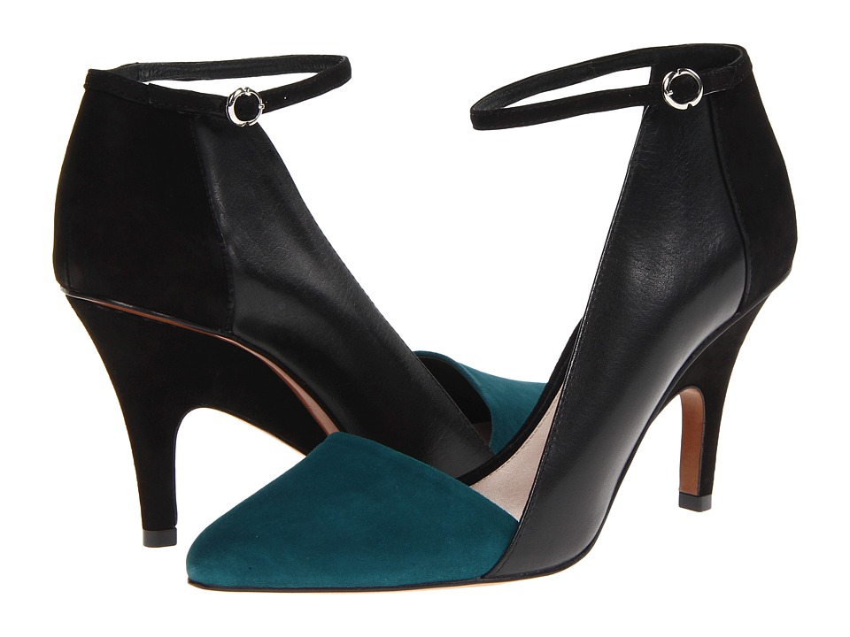 10 Crosby Derek Lam - Val (Petrol Suede/Black Eco Leather) High Heels