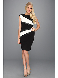 SALE! $59.99 - Save $68 on Calvin Klein Ponte Knit Sheath Dress With Contrast Panels (Black Ivory) Apparel - 53.13% OFF $128.00