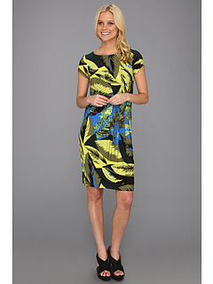 SALE! $36.99 - Save $81 on Ellen Tracy Leaf Print Short Sleeve Jersey Dress (Blue Leaf Print) Apparel - 68.65% OFF $118.00