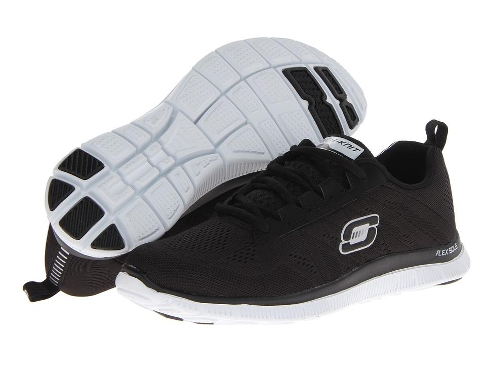 SKECHERS - Flex Appeal - Sweet Spot (Black Suede/White) Women's Lace up casual Shoes
