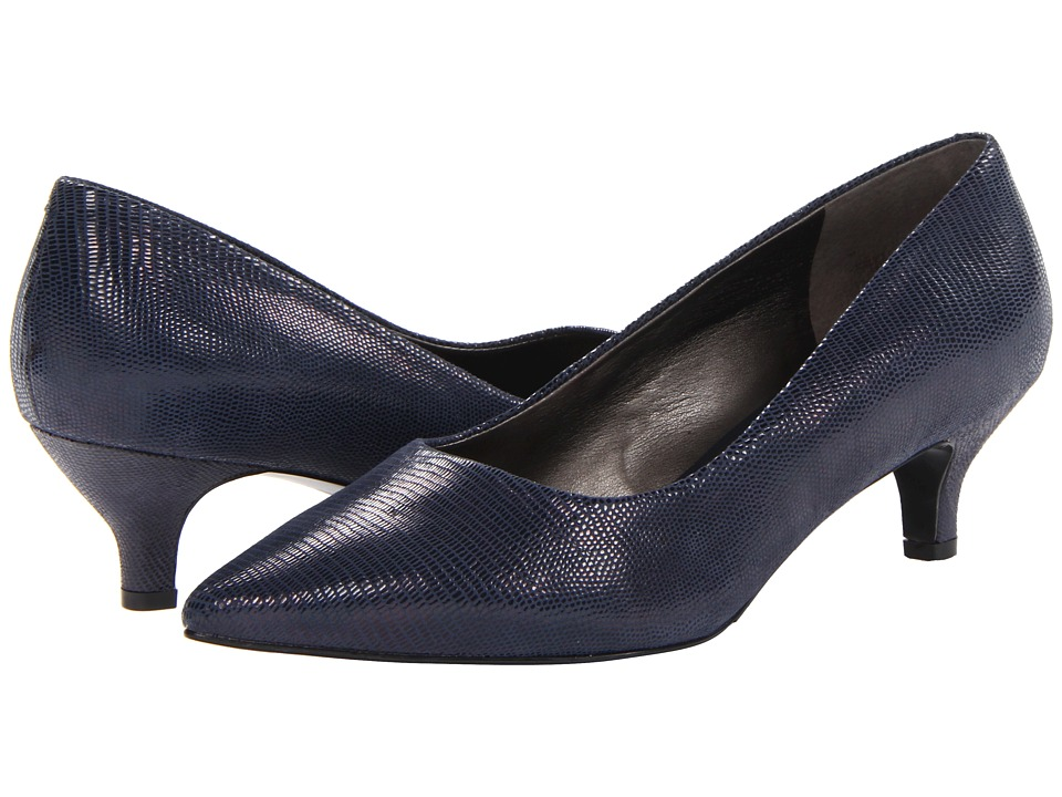 Trotters - Paulina (Dark Blue Patent Suede Lizard Leather) Women's 1-2 inch heel Shoes