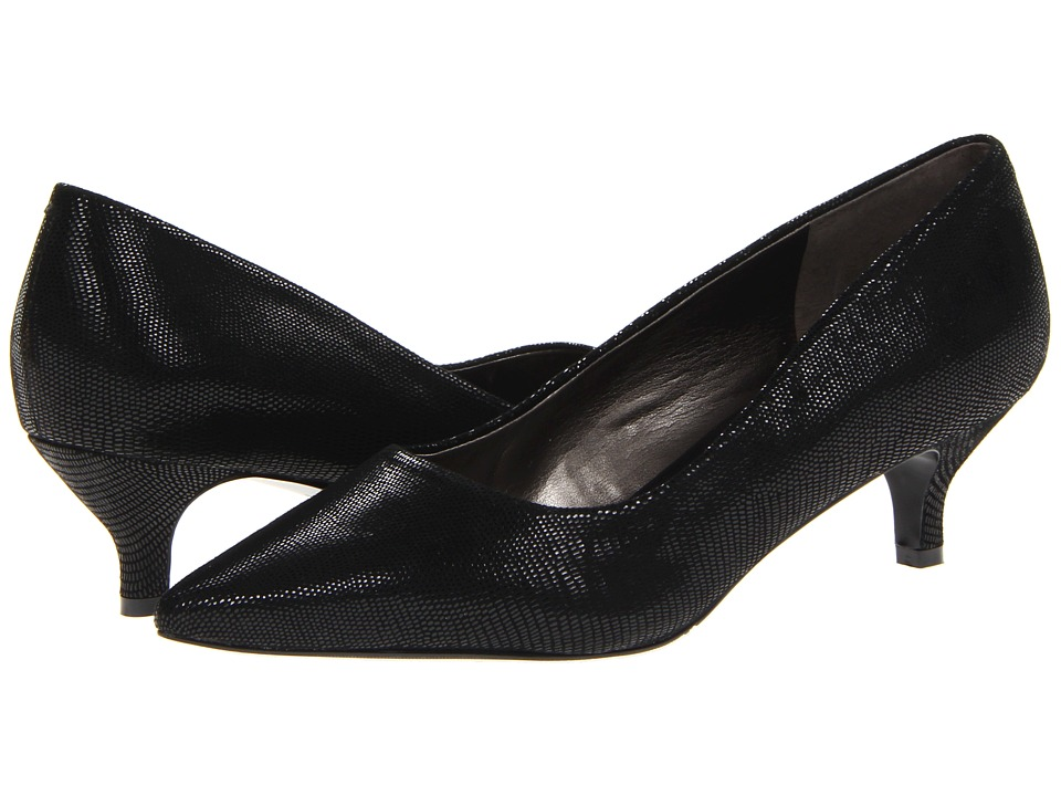 Trotters - Paulina (Black Patent Suede Lizard Leather) Women's 1-2 inch heel Shoes