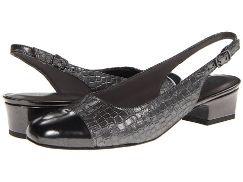 Trotters - Dea (Dark Pewter Metallic Croco Leather) Women's 1-2 inch heel Shoes