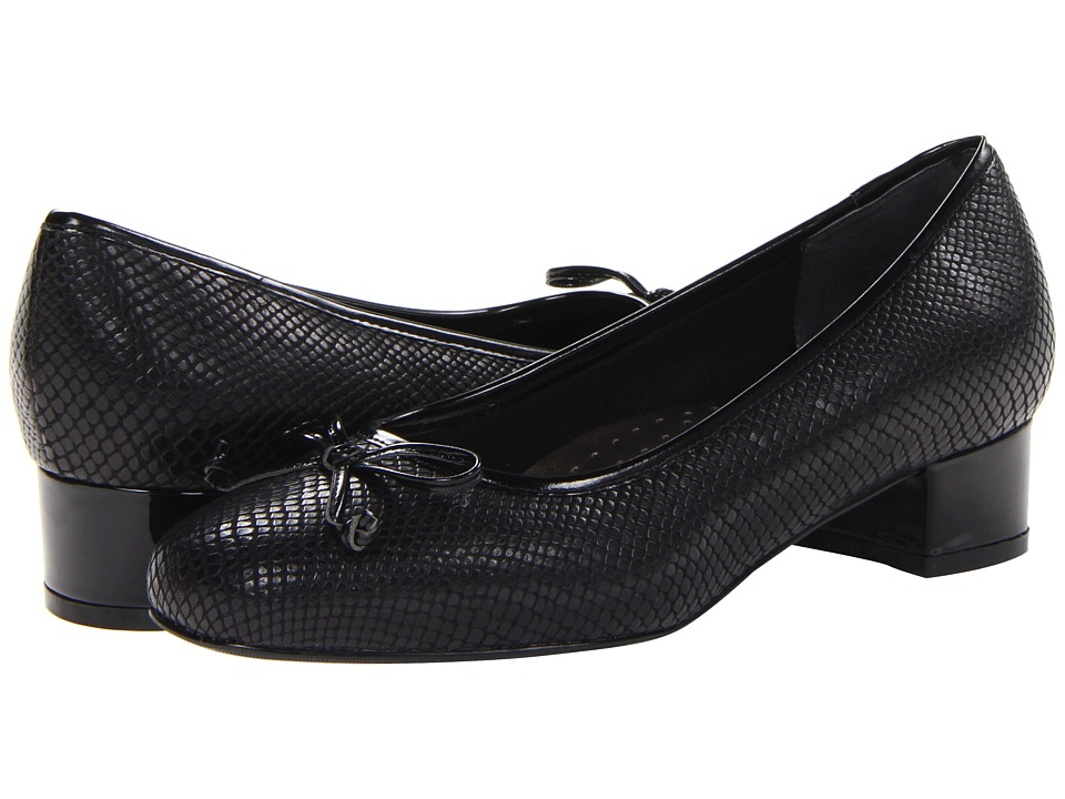 Trotters - Demi (Black Snake Leather/Patent) Women's 1-2 inch heel Shoes