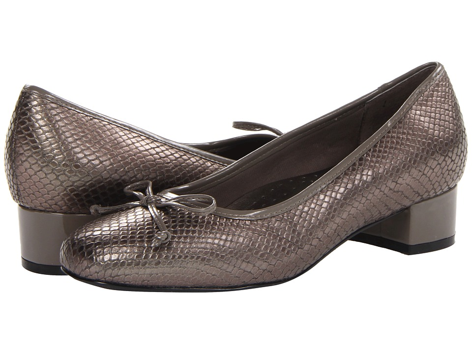 Trotters - Demi (Pewter Snake Leather/Patent) Women's 1-2 inch heel Shoes