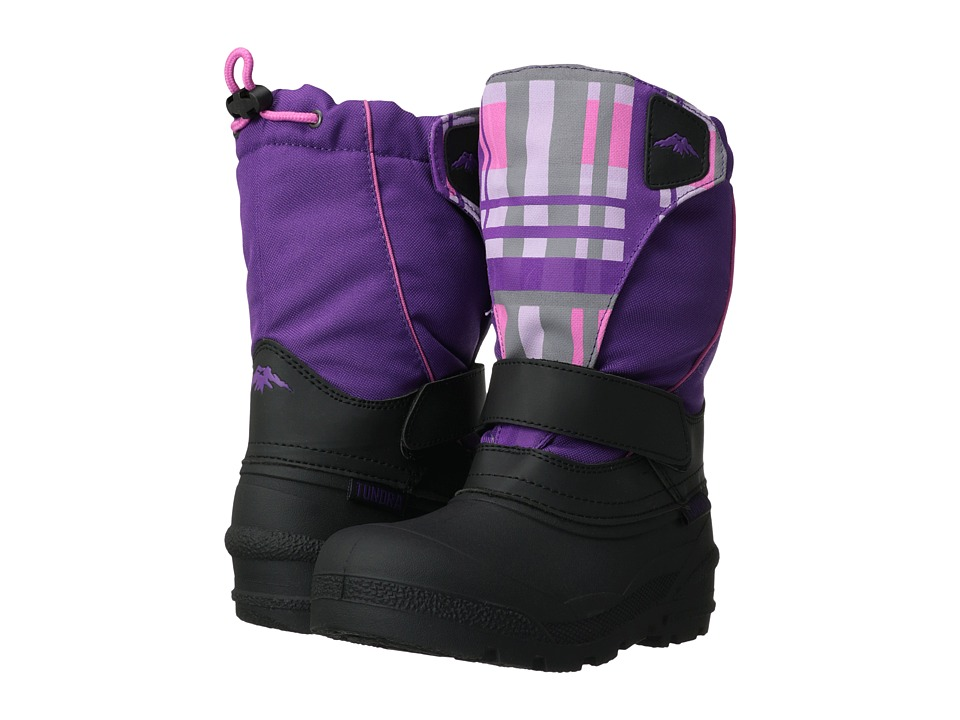 Tundra Boots Kids - Quebec (Toddler/Little Kid/Big Kid) (Black/Purple Plaid) Girls Shoes