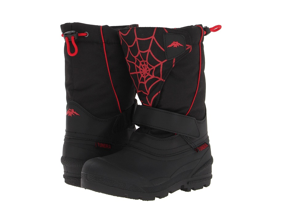 Tundra Boots Kids - Quebec (Toddler/Little Kid/Big Kid) (Black/Red/Web) Boys Shoes