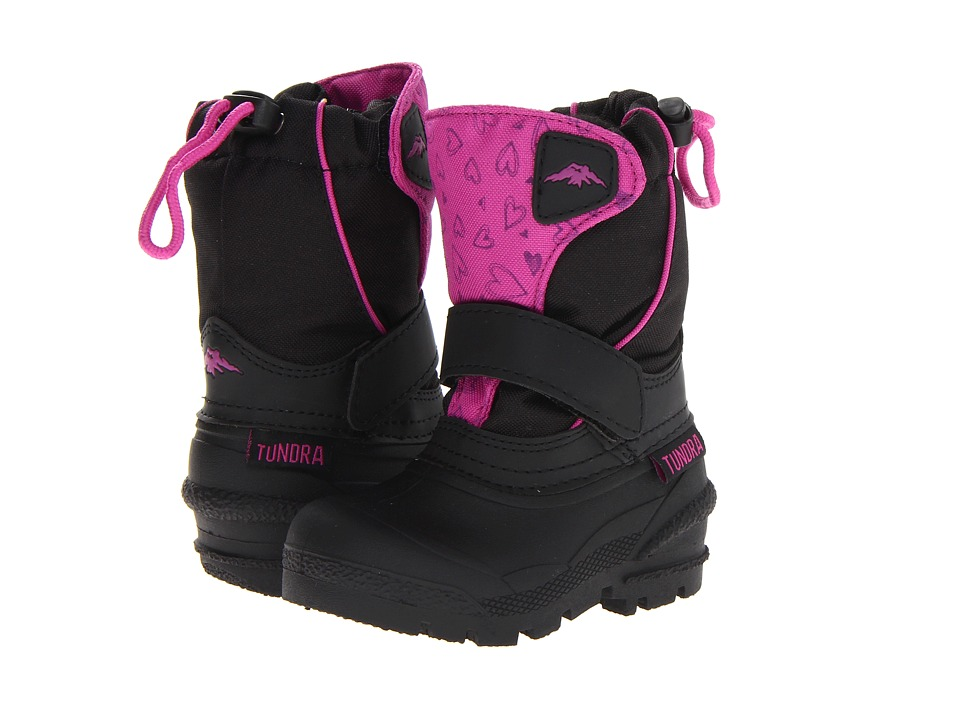 Tundra Boots Kids - Quebec (Toddler/Little Kid/Big Kid) (Black/Fuschia/Hearts) Girls Shoes