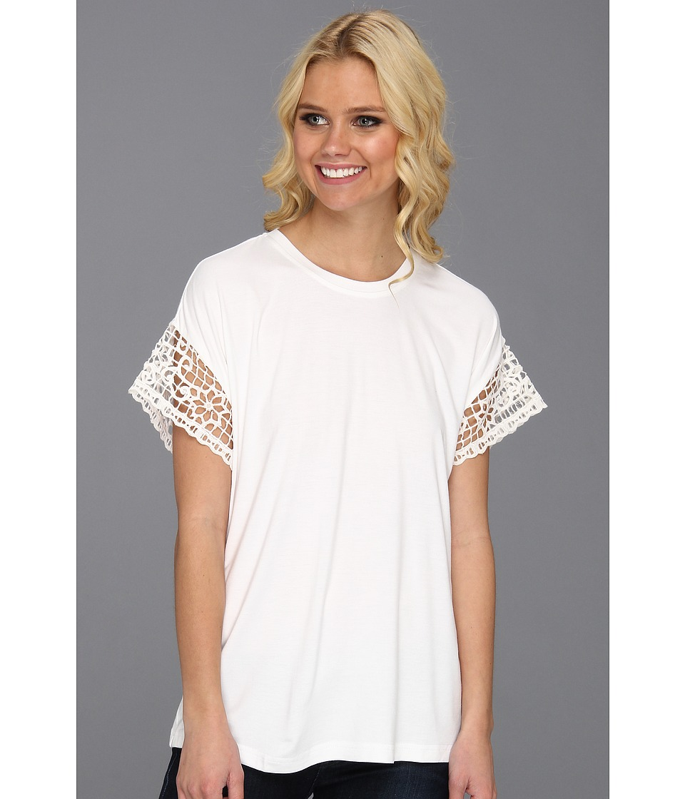 Nicole Miller Winter Lace Top Womens Short Sleeve Pullover (White)