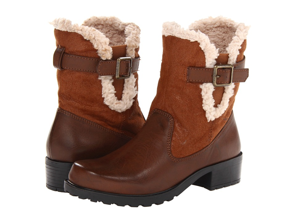 Trotters - Blast III (Cognac Smooth Faux Leather) Women's Zip Boots