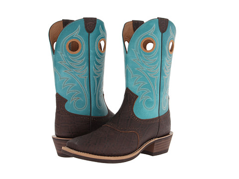 Ariat - Heritage Roughstock (Chocolate Elephant Print/Blue) Cowboy Boots