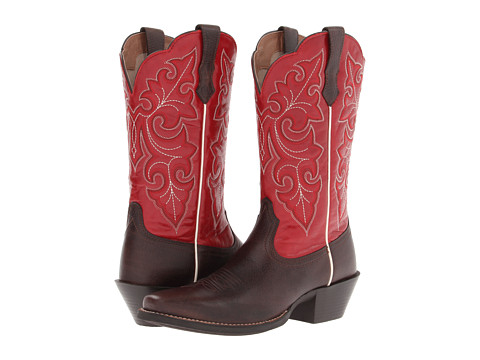 Ariat - Round Up Square Toe (Washed Brown/Red) Cowboy Boots