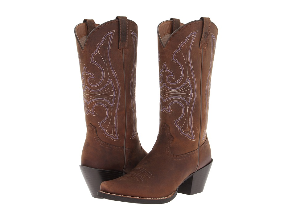 Ariat - Round Up D Toe (Distressed Brown) Cowboy Boots