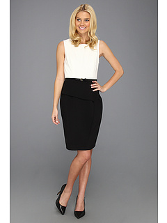 SALE! $51.99 - Save $76 on Calvin Klein Two Tone Belted Sheath Dress (Ivory Black) Apparel - 59.38% OFF $128.00