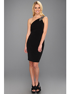 SALE! $86.99 - Save $71 on Calvin Klein Beaded One Shoulder Jersey Dress (Black) Apparel - 44.94% OFF $158.00
