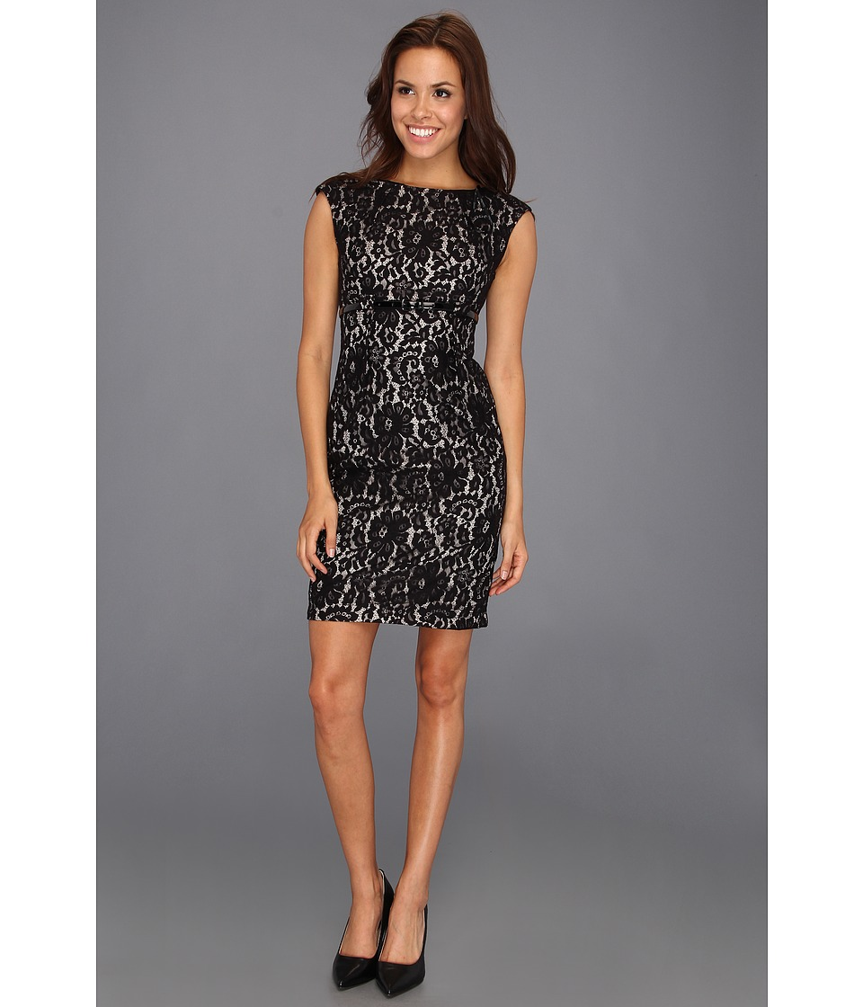 Calvin Klein Belted Sleeveless Lace Dress Womens Dress (Black)