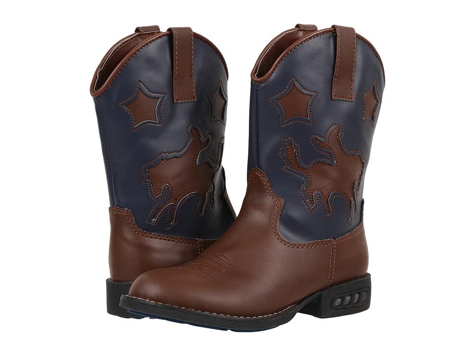 Roper Kids - Western Lights Cowboy Boots (Toddler/Little Kid) (Tan/Navy) Cowboy Boots