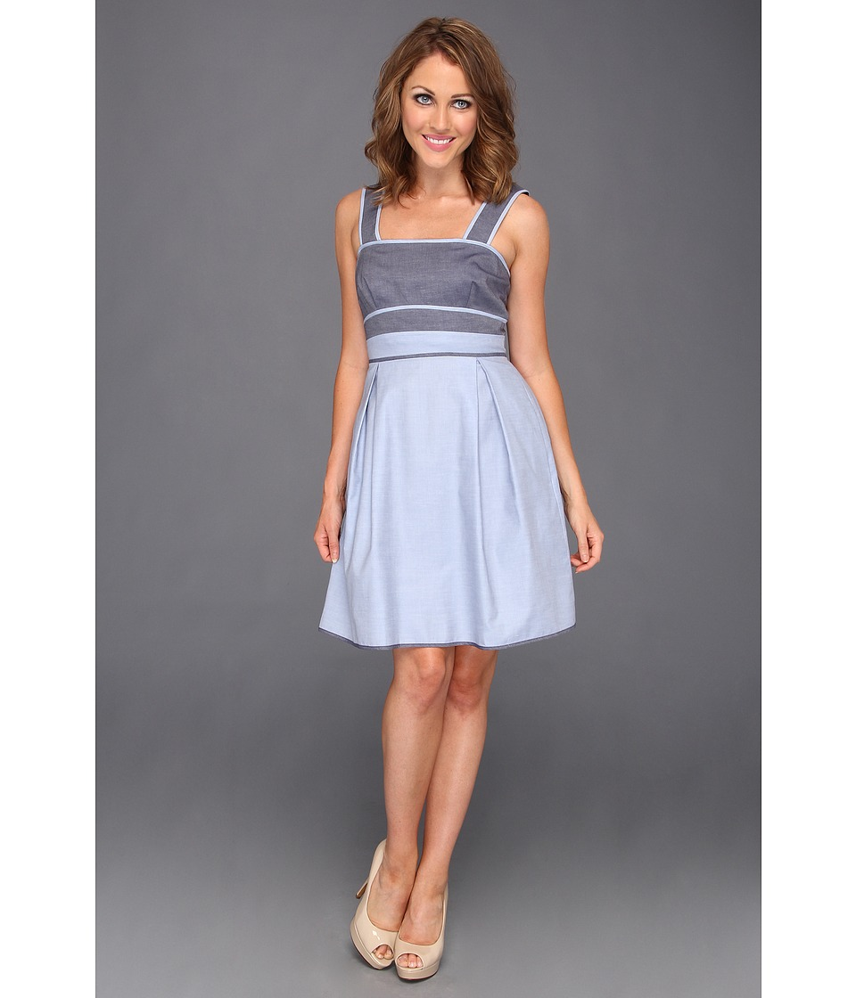 Donna Morgan Denim Color Block Bodice Dress Womens Dress (Blue)