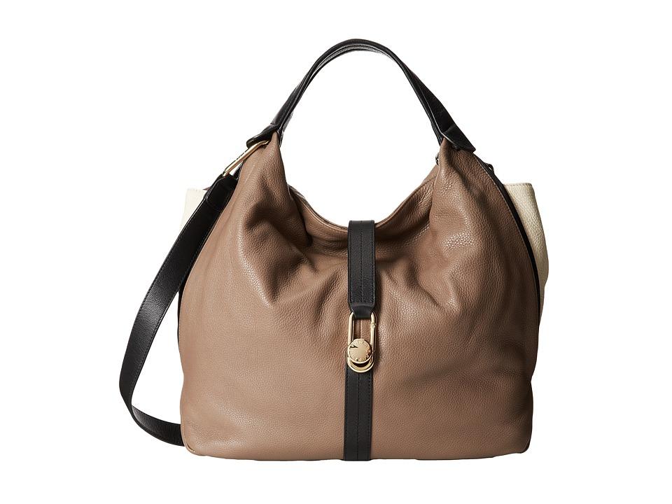 Furla - Elisabeth Buckle M Shopper (Sigaro/Panna) Tote Handbags