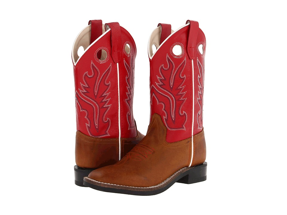 Old West Kids Boots - Ultra-Flex Broad Square Toe Boot (Toddler/Little Kid) (Light Distress Foot/Red Shaft) Cowboy Boots